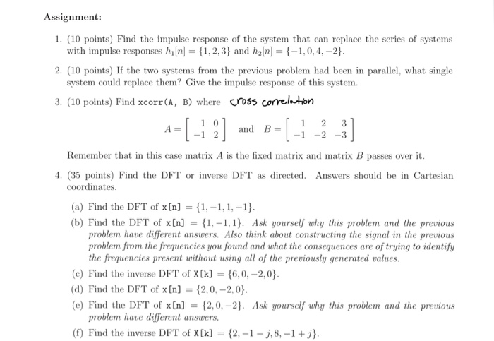 Solved: Assignment: 1  (10 Points) Find The Impulse Respon