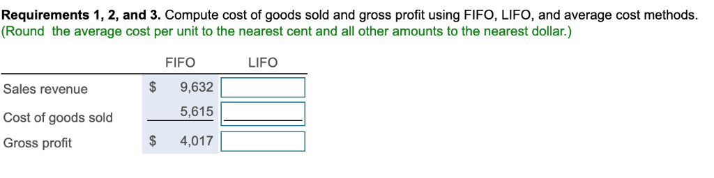 Requirements 1, 2, and 3. Compute cost of goods sold and gross profit using FIFO, LIFO, and average cost methods. (Round the