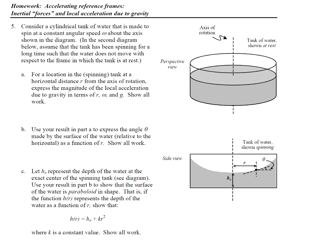 homework: accelerating reference frames: inertial forces and local  acceleration due to gravity 5