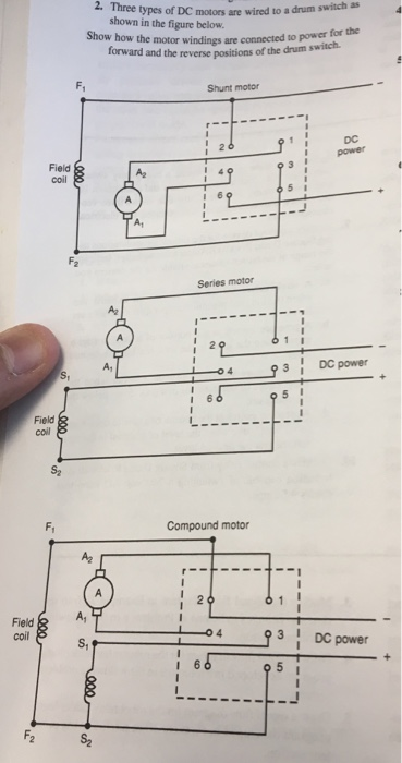 solved 2 three types of dc motors are wired to a drum sw Reliance DC Compound Motor Wiring Diagram three types of dc motors are wired to a drum switch as shown in