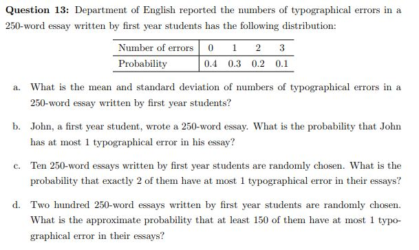 solved question  department of english reported the nu  question  department of english reported the numbers of typographical  errors in a