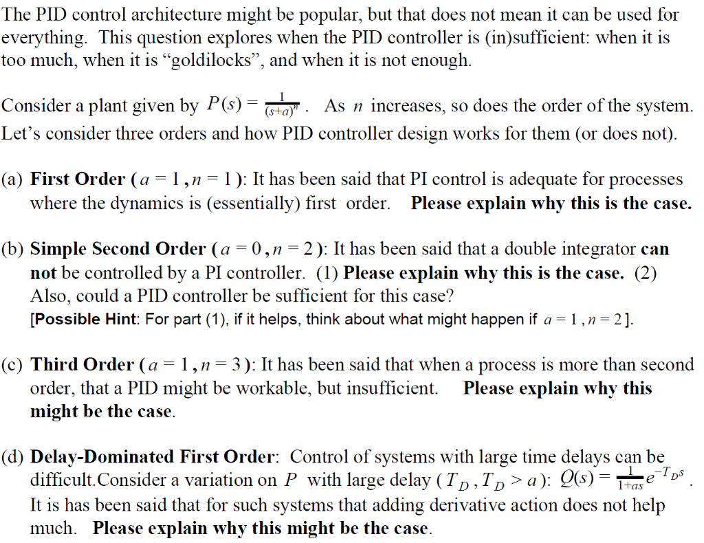 Solved: The PID Control Architecture Might Be Popular, But