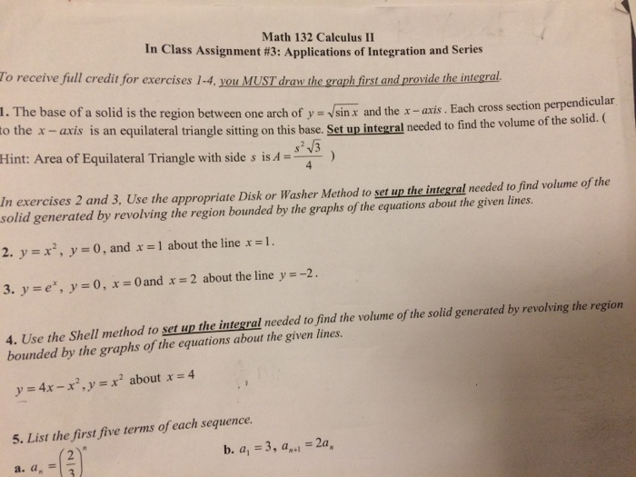 Solved: Math 132 Calculus II In Class Assignment #3: Appli