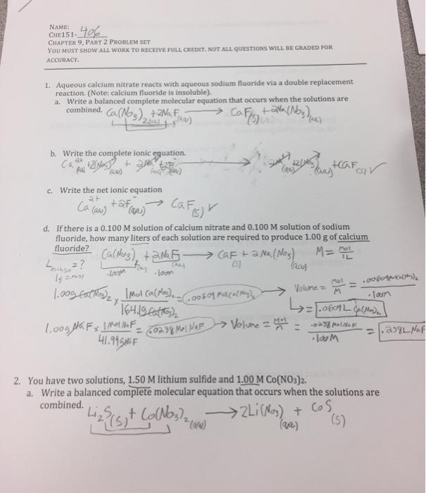 Solved: Aqueous Calcium Nitrate Reacts With Aqueous Sodium ...