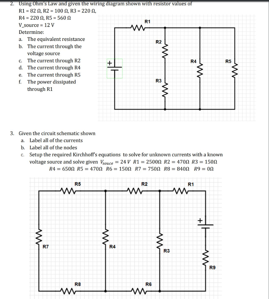 solved 2 using ohm\u0027s law and given the wiring diagram sh 24 Volt Wiring Diagram