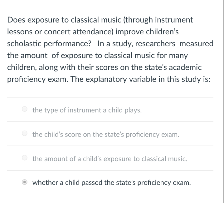 Solved: Does Exposure To Classical Music (through Instrume