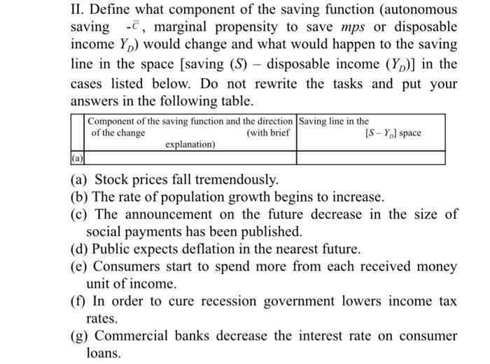 Define What Component Of The Saving Function Autonomous C Marginal Propensity