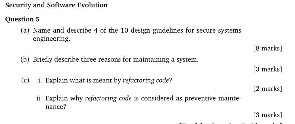 Solved Security And Software Evolution Question5 A Name Chegg Com