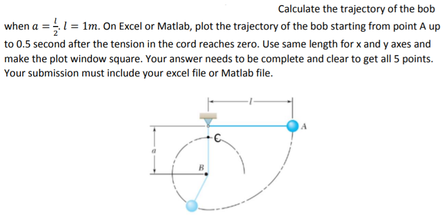 Solved: Calculate The Trajectory Of The Bob When A 1m  On