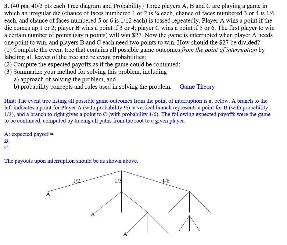 3 40 Pts 403 Pts Each Tree Diagram And Probabi Chegg