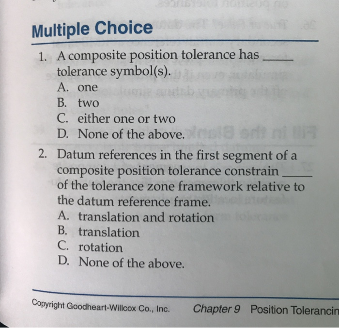 Solved Multiple Choice 1 A Composite Position Tolerance