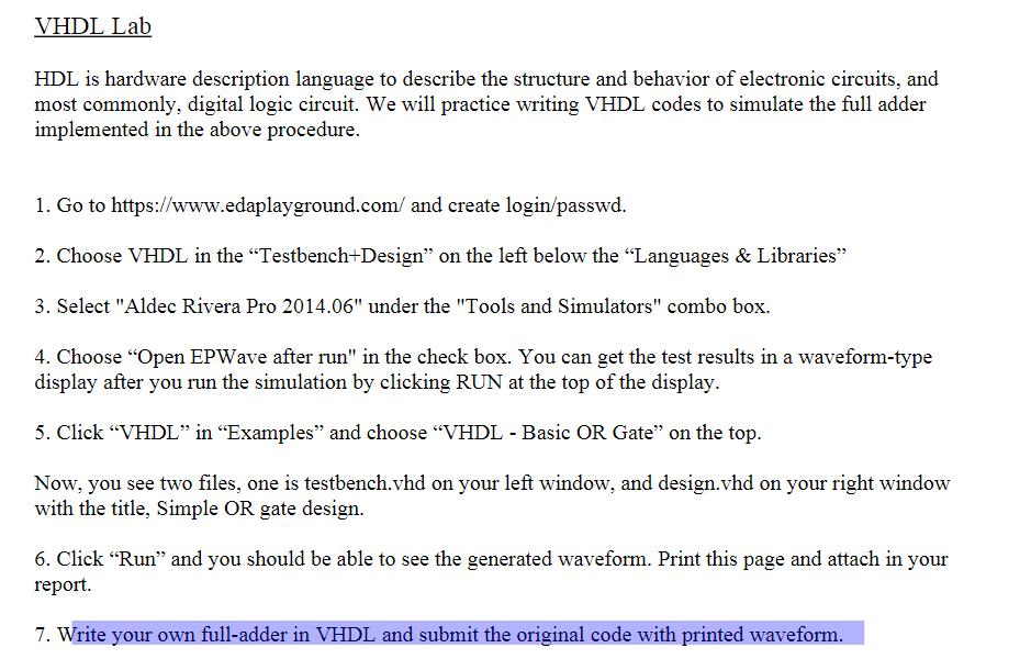 Solved: VHDL Lab HDL Is Hardware Description Language To D