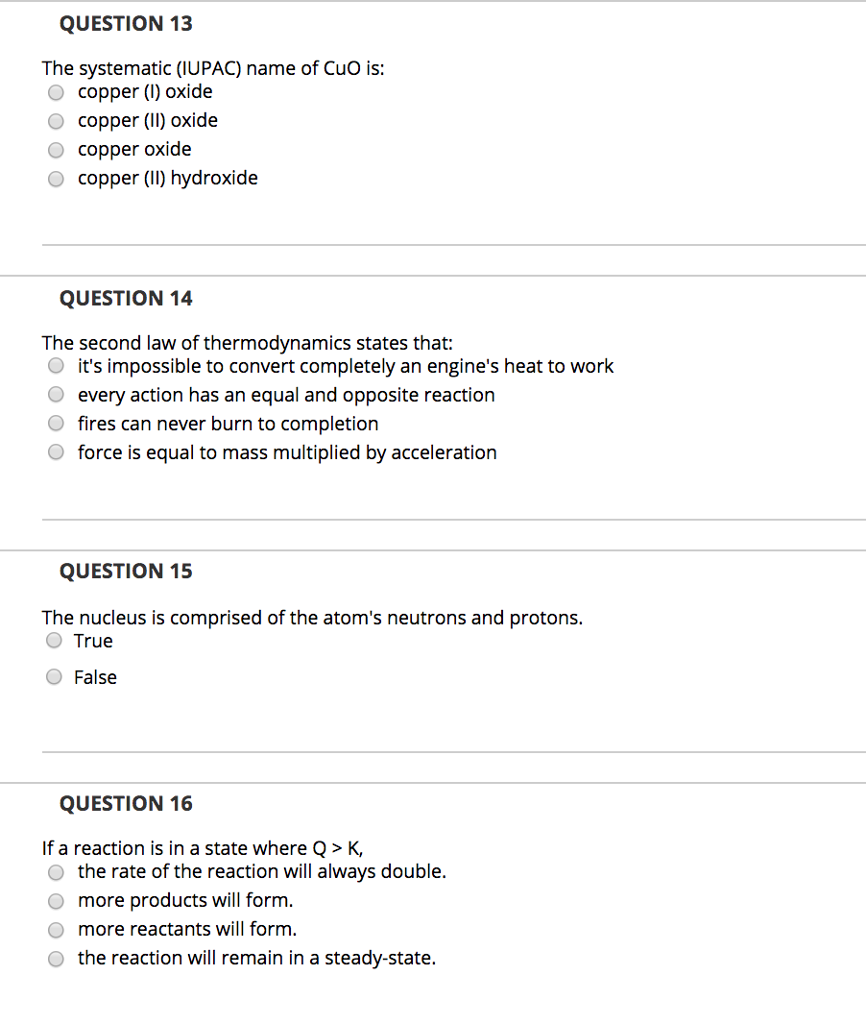 Solved: QUESTION 13 The Systematic (IUPAC) Name Of CuO Is