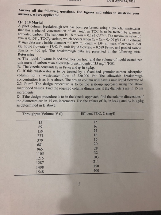 Solved: Due: 23, 2019 April Answer All The Following Quest