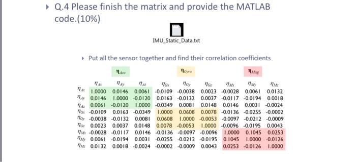 Q 4 Please Finish The Matrix And Provide The MATLA
