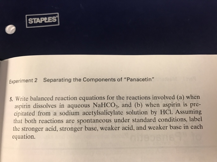 separating the components of panacetin 2 essay Separating the components of panacetin essay sample abstract in this lab we separated components of a simulated preparation, panacetin and making use of its acid.