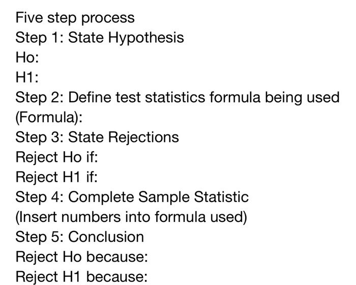 Solved: Five Step Process Step 1: State Hypothesis Ho: H1