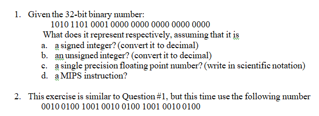 Solved: 1  Given The 32-bit Binary Number: 10101101 0001 0