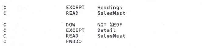 Solved: EXCEPT READ Headings SalesMast DOW EXCEPT READ END
