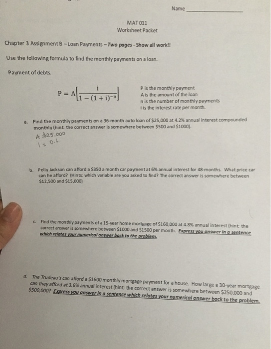 Solved: Name MAT 011 Worksheet Packet Chapter 3 Assignment ...