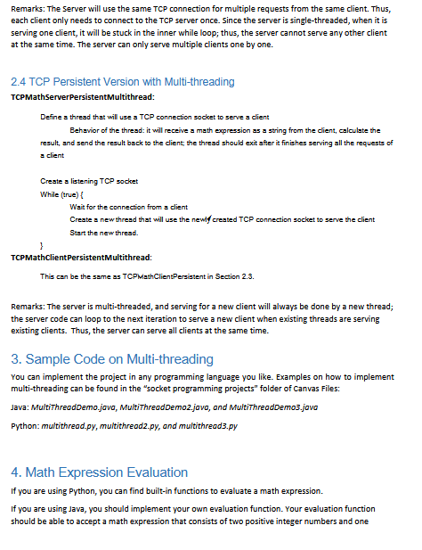 Socket Programming - Math Service You Are Required    | Chegg com