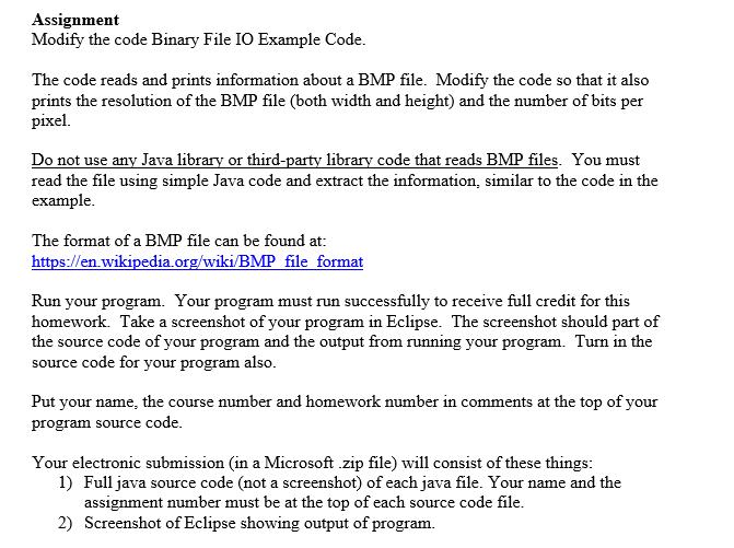 Assignment Modify The Code Binary File IO Example