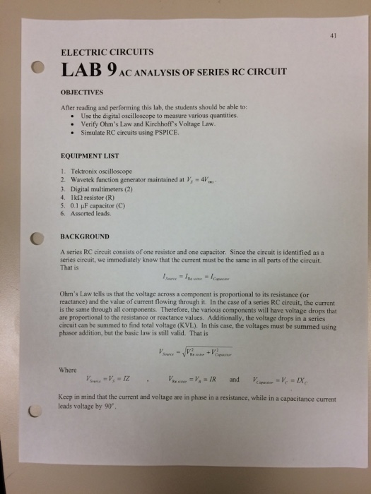 Solved 41 Electric Circuits Lab 9 Ac Analysis Of Series R