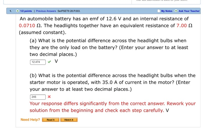1 2 Points Previous Answers Serpset9 28 P003 My Notes Ask