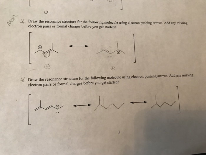 Solved: YDraw The Resonance Structure For The Following Mo