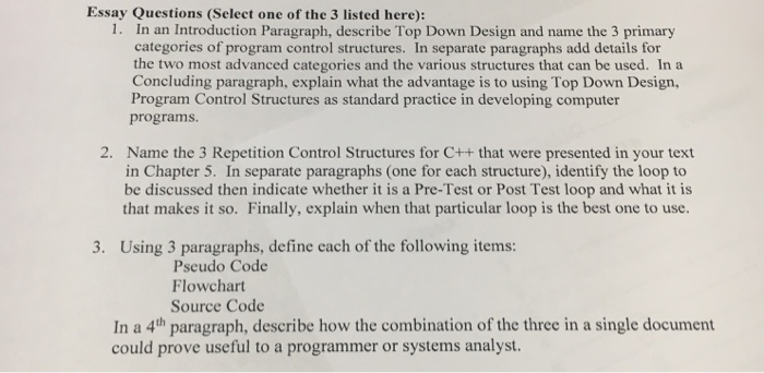 Solved Essay Questions Select One Of The 3 Listed Here