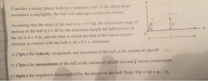 solved consider a soccer player kicking a stationary ball