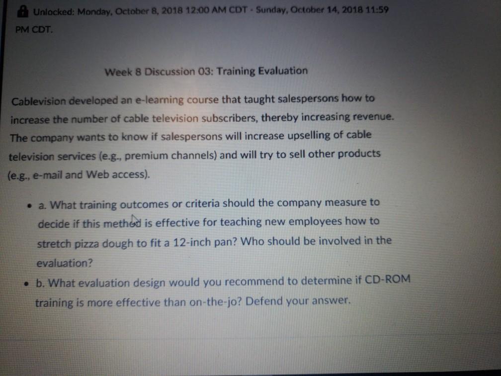 Solved: A Unlocked: Monday, October 8, 2018 12:00 AM CDT