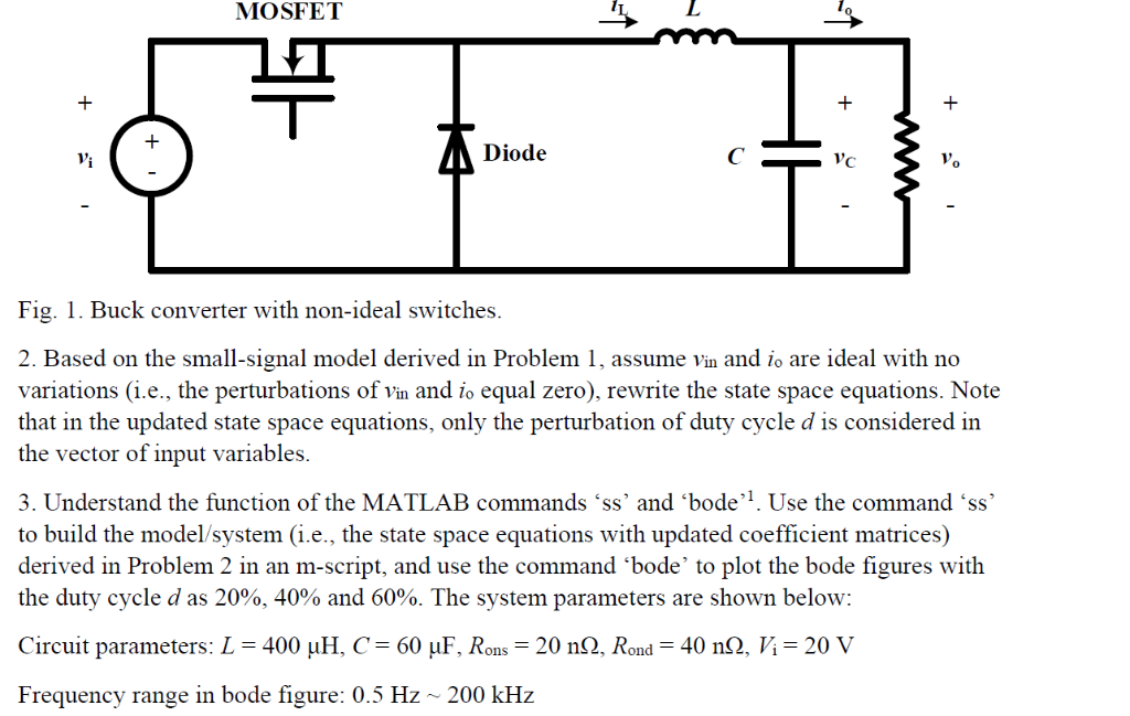 Solved: MOSFET Diode 0 Fig  1  Buck Converter With Non-ide