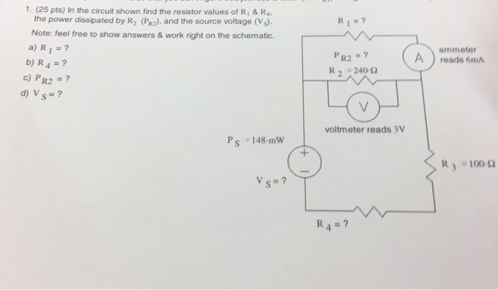 Solved: In The Circuit Shown Find The Resistor Values Of R ... on