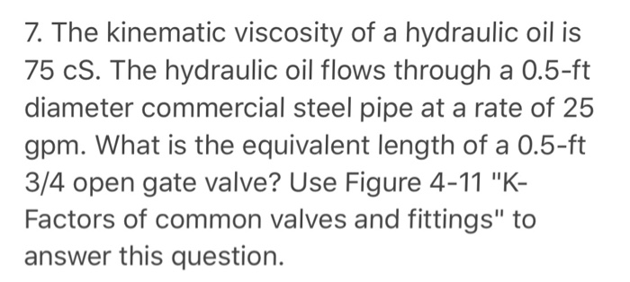Solved: 7  The Kinematic Viscosity Of A Hydraulic Oil Is 7