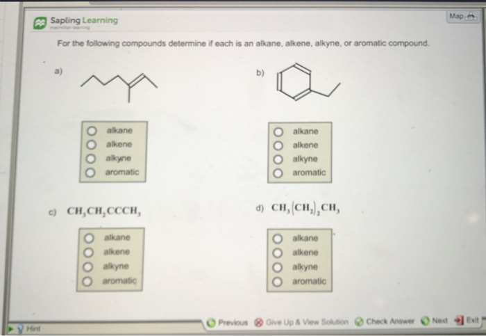 solved map sapling learning for the following compounds d