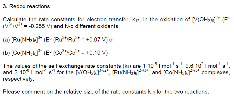 Redox Reactions Calculate The Rate Constants For Electron Transfer K12 In