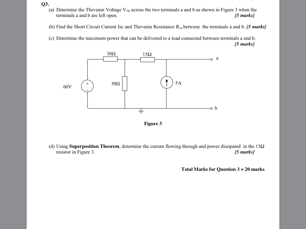 Solved Q3 A Determine The Thevenin Voltage Vth Across Find Total Resistance For Resistor Circuit Cheggcom Two Terminals And