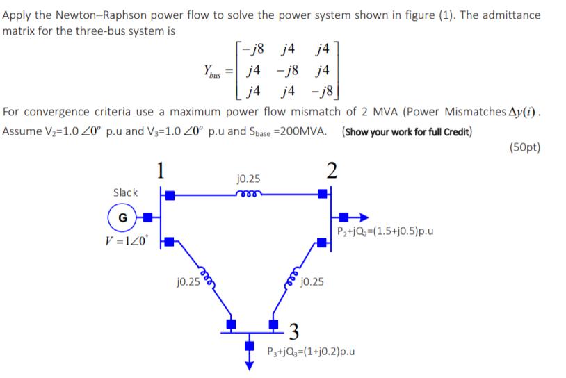 Apply The Newton-Raphson Power Flow To Solve The P