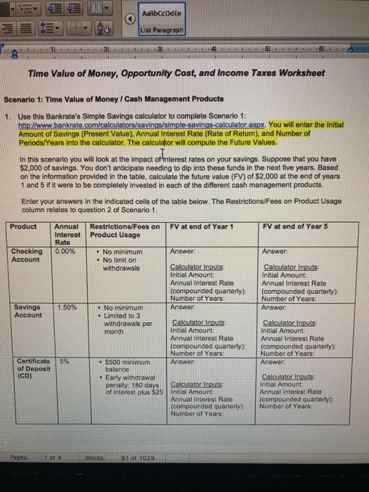 Aabbccddee List Paragraph 31 Time Value Of Money Opportunity Cost And Income Ta Worksheet