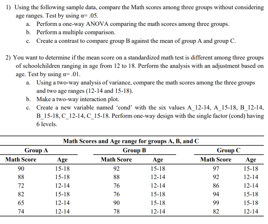 Solved 1 Using The Following Sample Data Compare The Ma