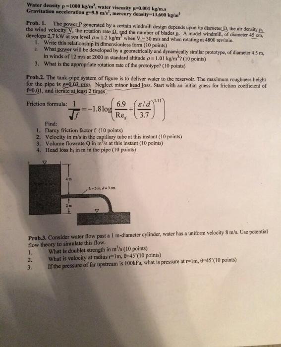 Solved: Water Density ρ-1000 Kg/m3, Water Viscosity μ-0 00