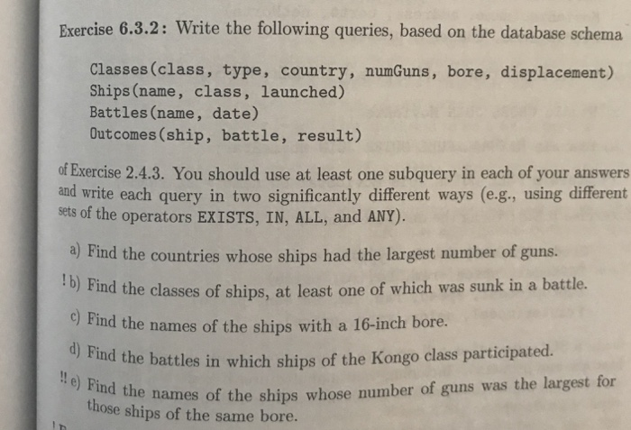 Solved: Exercise 6 3 2: Write The Following Queries, Based