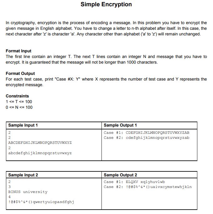 Solved: Simple Encryption In Cryptography, Encryption Is T