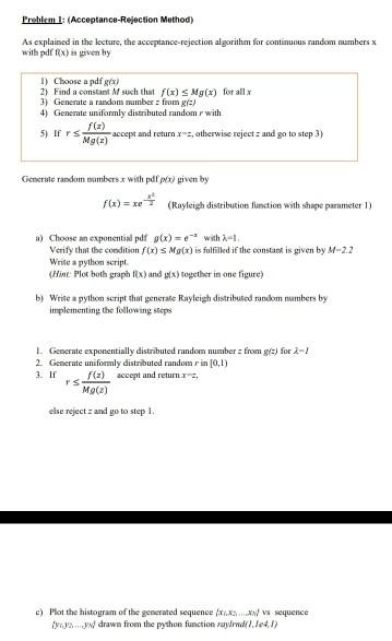 Solved: Preblem :(Acceptance-Rejection Method) As Explaine