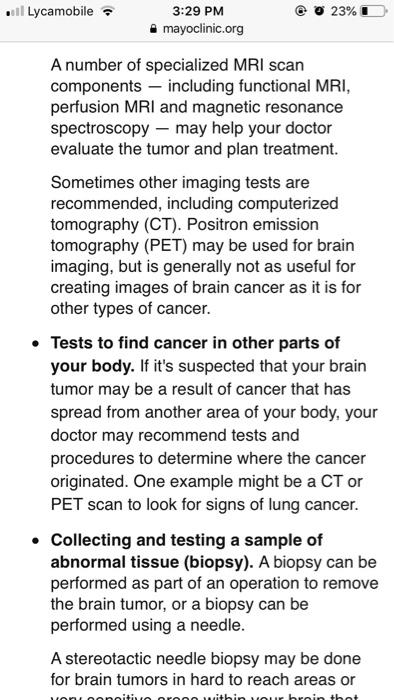 Solved: Type An 2 Pg Essay On Brain Tumor Using The Inform