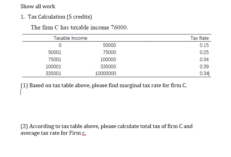 tax calculation 5 credits the firm c has taxable income 76000 tax rate 015 0