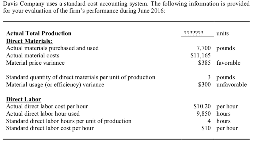 Solved A Calculate The Standard Direct Material Cost Per