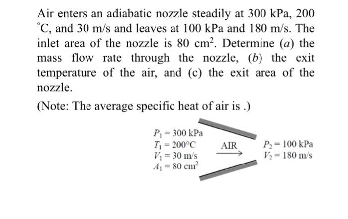 air enters an adiabatic nozzle steadily at 300 kpa
