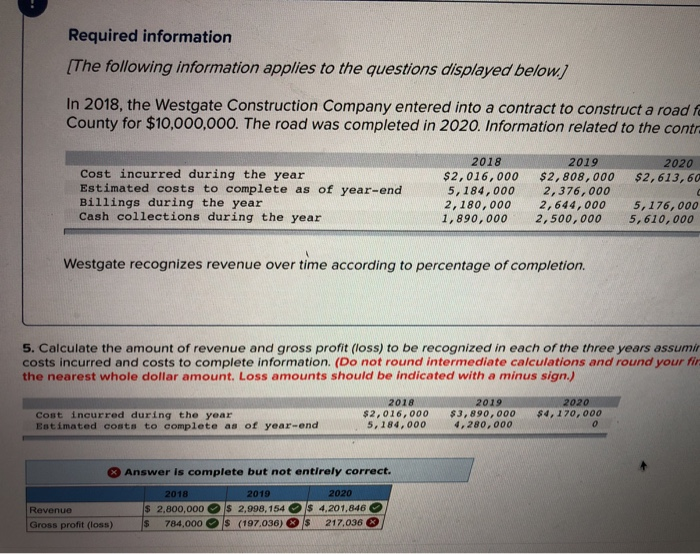 Required information [The following information applies to the questions displayed below In 2018, the Westgate Construction Company entered into a contract to construct a road f County for $10,000,000. The road was completed in 2020. Information related to the contr 2018 2019 2020 Cost incurred during the year Estimated costs to complete as of year-end Billings during the year Cash collections during the year $2,016, 000 $2, 808, 000 5, 184,000 , 376,000 2, 180, 000 2, 644,000 1,890, 000 2,500,000 $2, 613,60 5,176,000 5, 610,000 Westgate recognizes revenue over time according to percentage of completion. 5. Calculate the amount of revenue and gross profit (loss) to be recognized in each of the three years assumir costs incurred and costs to complete information. (Do not round intermediate calculations and round your fi the nearest whole dollar amount. Loss amounts should be indicated with a minus sign.) 2018 2019 2020 Cost incurred during the year Estimated costs to complete as of year-enc $2,016,000$3, 890, 000$4,170,000 5, 184, 0004.280,000 Answer is complete but not entirely correct. 2018 2019 S 2.800,000 s 2,998,154 Is 4.201,846 Revenue Gross profit (loss) 784,000 O s (197,036) Ols_ 217,036 0